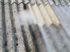 Asbestos roof cleaning using steam