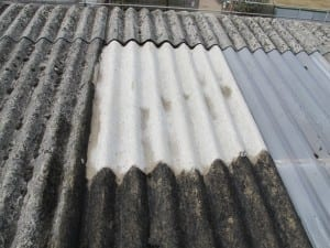 Asbestos roof cleaned with steam
