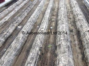Typical wet-scraped finish to be achieved for asbestos roof cleaning